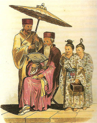 (1816年イギリス海軍士官の撮った琉球王国高官)
